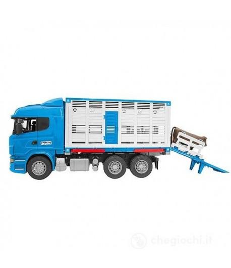 Bruder Scania camion trasporto bestiame con bovino 03549