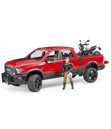 Bruder RAM 2500 Power Wagon con Ducati Scrambler 02502