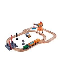 Trenino Hape in legno con passaggio a livello e gru E3732