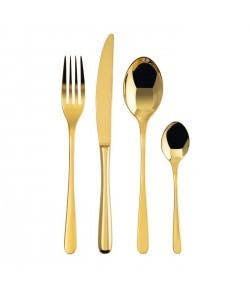 Sambonet Set 24 Pz Posate Tavola Monoblocco Taste PVD Gold 52553G81