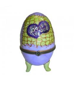 Scatola uovo Soizick in porcellana color viola decorata a mano 444 014