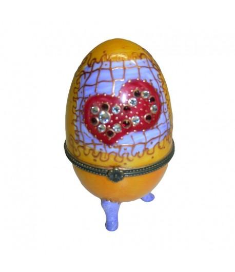 Scatola uovo Soizick in porcellana color arancio decorata a mano 444 004
