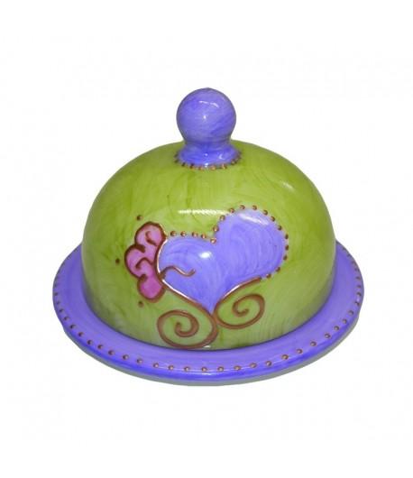 Burriera Soizick in porcellana color anice decorata a mano 17003001