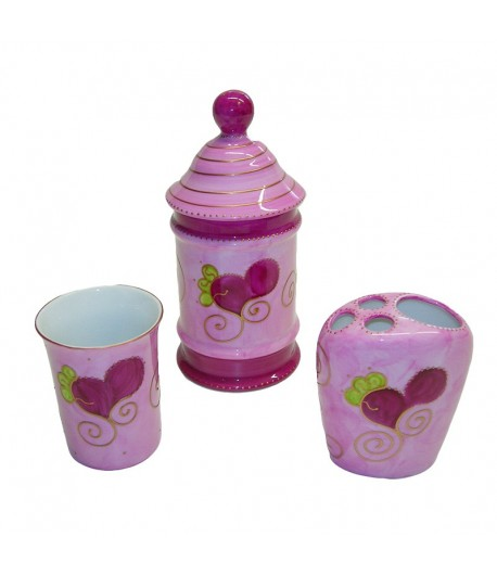 Set da bagno Soizick in porcellana color rosa decorato a mano 332+333+335 10