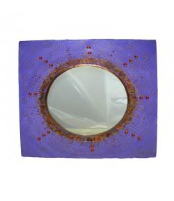 Specchio Soizick Sole su Tela 40x40 cm color viola decorato a mano TSA300