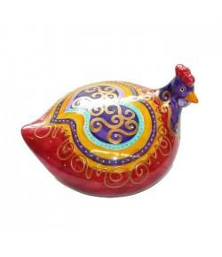 Gallina Soizick in porcellana color corallo decorata a mano 608061