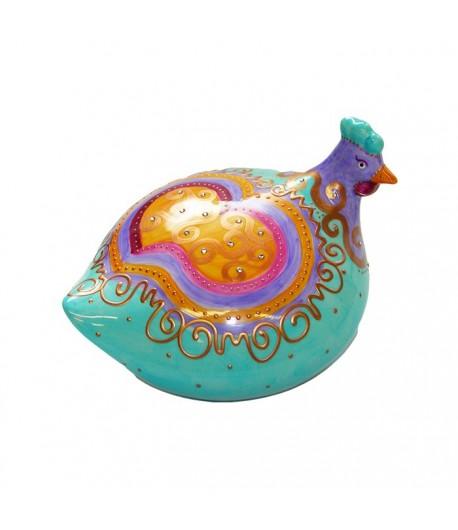 Gallina Soizick in porcellana color turchese decorata a mano 608020