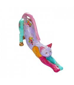 Gatto allungato Soizick in porcellana 31 cm color parma decorato a mano 617014