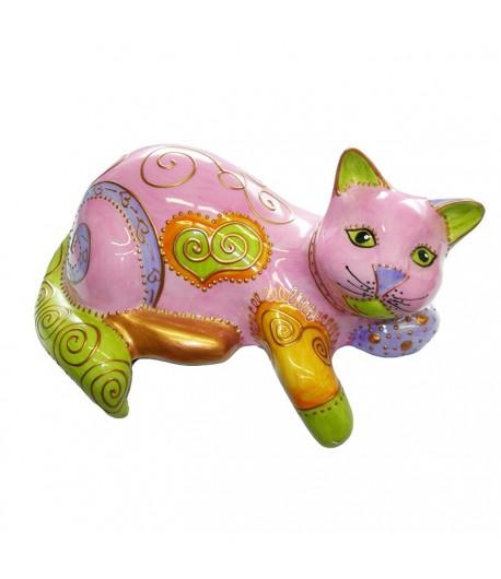 Gatto accovacciato in porcellana Soizick 20 cm rosa decorato a mano 624010