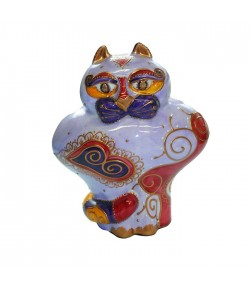 Gatto JO Soizick in porcellana 20 cm colore parma decorato a mano 623014