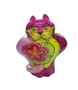 Gatto JO Soizick in porcellana 20 cm colore rosa decorato a mano 623010