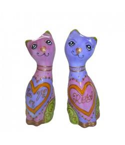 Coppia gattini Soizick in porcellana 16 cm LA VIE EN ROSE decorata a mano 611P