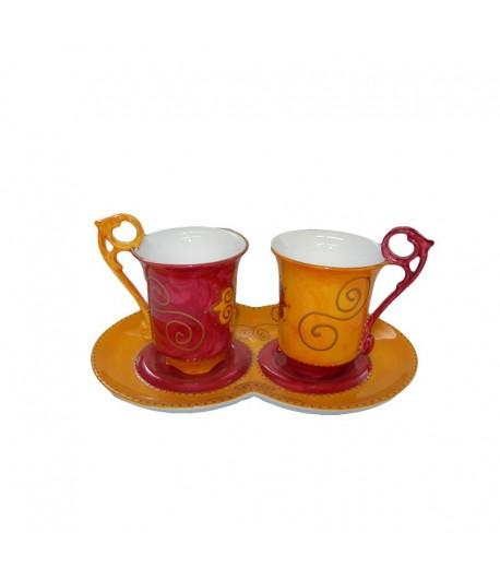 Tete a tete Soizick in porcellana color arancio decorata a mano 11400404