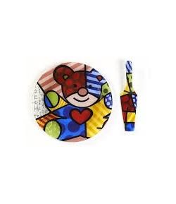 Set Piatto & Pala Torta Romero Britto in vetro Orso  334037