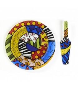Set Piatto & Pala Torta Romero Britto in vetro Cuore  334036