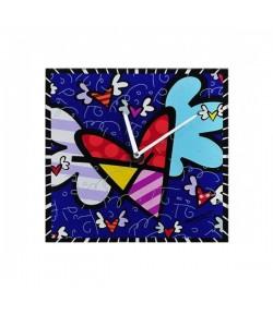 Orologio Parete Romero Britto in vetro Quadrato Flying Heart  334178
