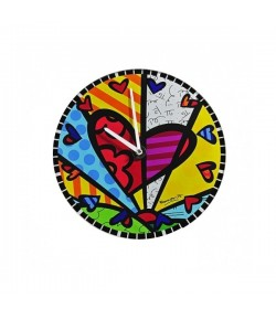 Orologio Parete Romero Britto in vetro Tondo Heart  334177