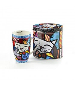 Mug Romero Britto Cat con scatola in latta 12,5 cm  334240