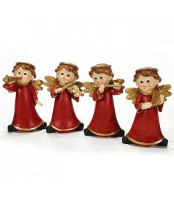 Set 4 Angeli musicanti General Trade rossi con oro h 13 cm   713507