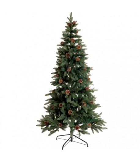 Albero Natale con pigne L'Oca Nera verde con leds cm 210h  1XM581.10