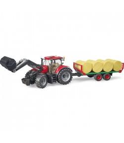 Bruder trattore Case IH Optum 300 CVX con rimorchio balle fieno 03198
