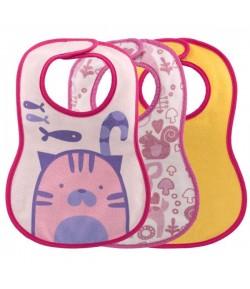 Bavaglini pappa Chicco da 6 mesi rosa 3 pezzi 16301.10