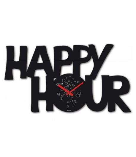 Orologio da parete lowell happy hour nero 05762 for Happy casa arredo
