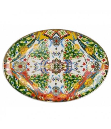 Piatto ovale Natale Baci Milano Cosy Xmas oro 35,2x25,2 cm  PIAT5.XMA01