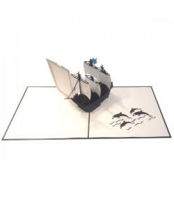 Biglietto auguri Origamo Galeone porta foto PB060G